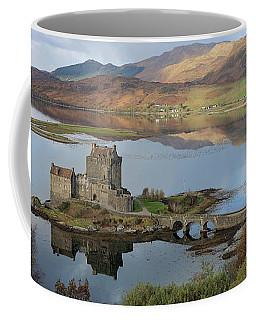 Coffee Mug featuring the photograph Eilean Donan Castle In Autumn - Panorama by Maria Gaellman