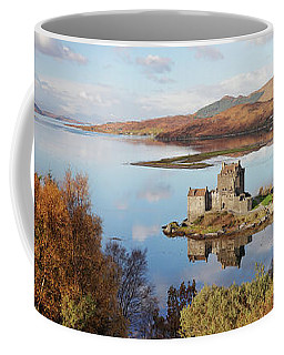 Coffee Mug featuring the photograph Eilean Donan Castle Panorama In Autumn by Grant Glendinning
