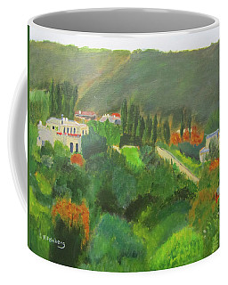 Coffee Mug featuring the painting Ein Hod View by Linda Feinberg