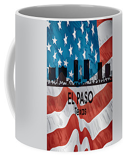 El Paso Tx American Flag Vertical Coffee Mug