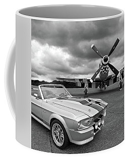 Eleanor Mustang With P51 Black And White Coffee Mug