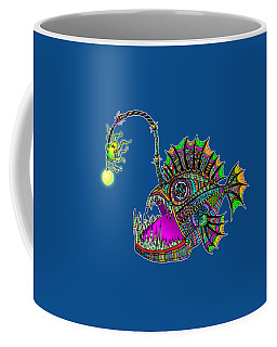Coffee Mug featuring the drawing Electric Angler Fish by Tammy Wetzel