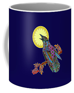 Coffee Mug featuring the drawing Electric Crow by Tammy Wetzel