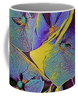 Coffee Mug featuring the mixed media Electric Hydrangea by Susan Maxwell Schmidt