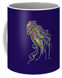 Coffee Mug featuring the drawing Electric Jellyfish On Black by Tammy Wetzel