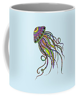 Coffee Mug featuring the drawing Electric Jellyfish by Tammy Wetzel