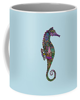 Coffee Mug featuring the drawing Electric Lady Seahorse  by Tammy Wetzel