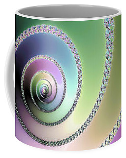 Elegant Fractal Spirals Green Purple Blue Coffee Mug