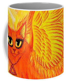 Coffee Mug featuring the painting Elemental Fire Fairy Cat by Carrie Hawks