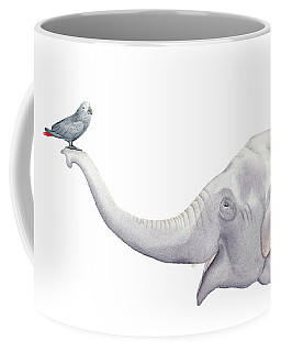 Elephant And Bird Watercolor Coffee Mug