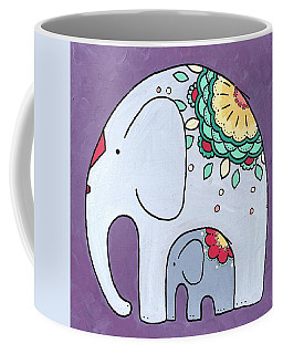 Elephant And Child - On Purple Coffee Mug