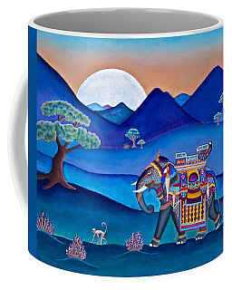 Elephant And Monkey Stroll Coffee Mug by Lori Miller