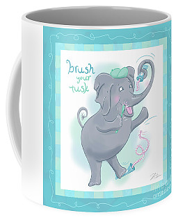 Elephant Bath Time Brush Your Tusk Coffee Mug