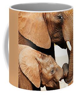 Elephant Calf And Mother Close Together Coffee Mug