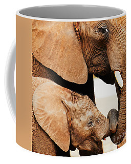 Coffee Mug featuring the photograph Elephant Calf And Mother Close Together by Nick  Biemans