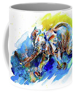 Elephant Calf Playing With Butterfly Coffee Mug