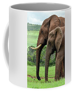 Coffee Mug featuring the photograph Elephant Couple Profile by Gaelyn Olmsted