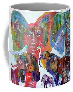 Coffee Mug featuring the painting Elephant Family by Claire Bull