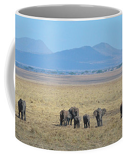 Coffee Mug featuring the photograph Elephant Family Scenic Backdrop Tanzania by Tom Wurl