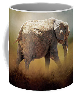 Coffee Mug featuring the photograph Elephant In The Mist by David and Carol Kelly