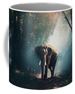 Coffee Mug featuring the painting Elephant In The Mist - Painting by Ericamaxine Price