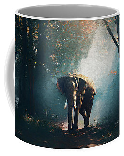 Elephant In The Mist - Painting Coffee Mug