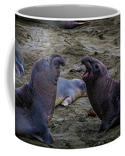 Elephant Seals Challenging Each Other Coffee Mug