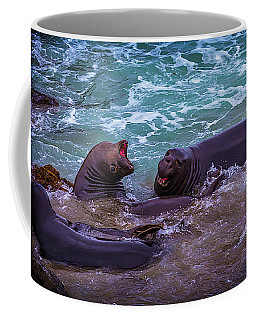 Elephant Seals Fighting In The Surf Coffee Mug