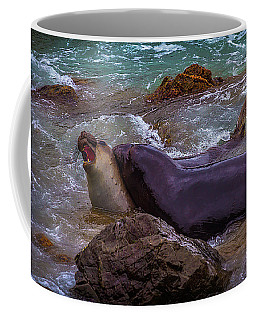 Elephant Seals Fighting In The Water Coffee Mug
