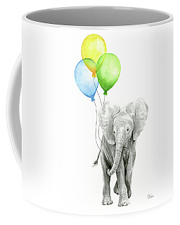 Elephant Watercolor Baby Animal Nursery Art Coffee Mug