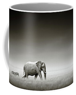 Elephant With Zebra Coffee Mug
