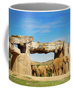 Coffee Mug featuring the photograph Elephants by Alison Frank