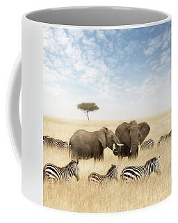Elephants And Zebras In The Grasslands Of The Masai Mara Coffee Mug