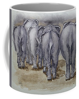 Coffee Mug featuring the painting Elephants Leaving...no Butts About It by Kelly Mills
