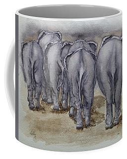 Elephants Leaving...no Butts About It Coffee Mug