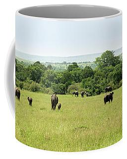 Elephants On The Savannah Coffee Mug