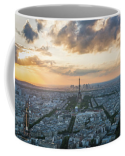 Coffee Mug featuring the photograph Elevated View Of Paris At Sunset by James Udall