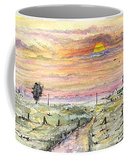 Coffee Mug featuring the digital art Elevator In The Sunset by Darren Cannell