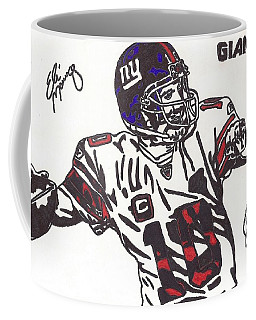 Coffee Mug featuring the drawing Eli Manning by Jeremiah Colley