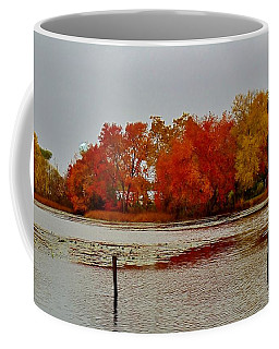 Coffee Mug featuring the photograph Elmer Lake In Autumn by Ed Sweeney