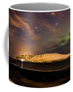 Elv Or Troll And Viking With A Sword In The Northern Light Coffee Mug