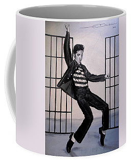 Coffee Mug featuring the painting Elvis Presley Jailhouse Rock by Eric Dee