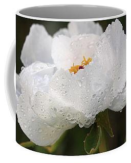 Embracing The Rain - White Tree Peony Coffee Mug by Gill Billington