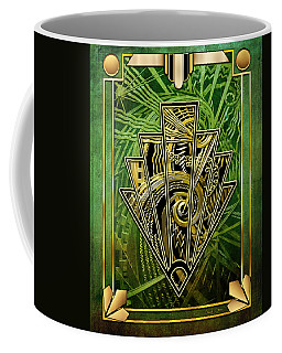 Coffee Mug featuring the digital art Emerald Green And Gold by Chuck Staley