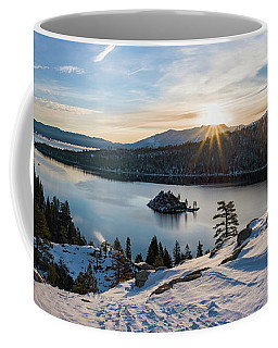 Emerald Bay Winter Sunburst By Brad Scott Coffee Mug
