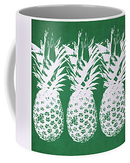 Coffee Mug featuring the mixed media Emerald Pineapples- Art By Linda Woods by Linda Woods