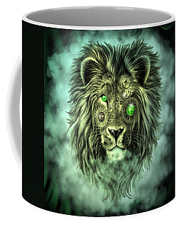 Emerald Steampunk Lion King Coffee Mug