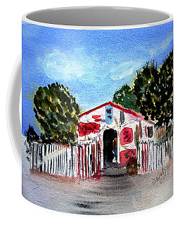 Coffee Mug featuring the painting Emiles Road Side Grocer by Donna Walsh