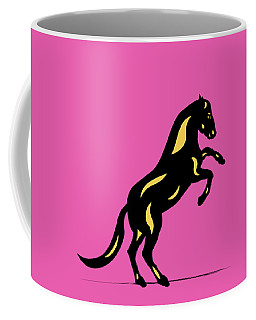 Emma II - Pop Art Horse - Black, Primrose Yellow, Pink Coffee Mug