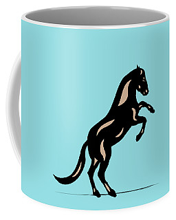 Emma II - Pop Art Horse - Black, Hazelnut, Island Paradise Blue Coffee Mug